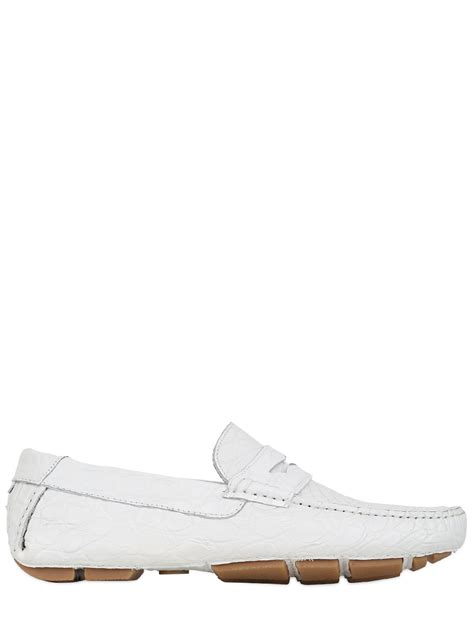 a testoni shoes a testoni crocodile leather driving shoes in white for