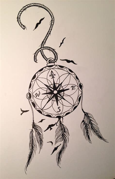 compass dreamcatcher tattoo compass