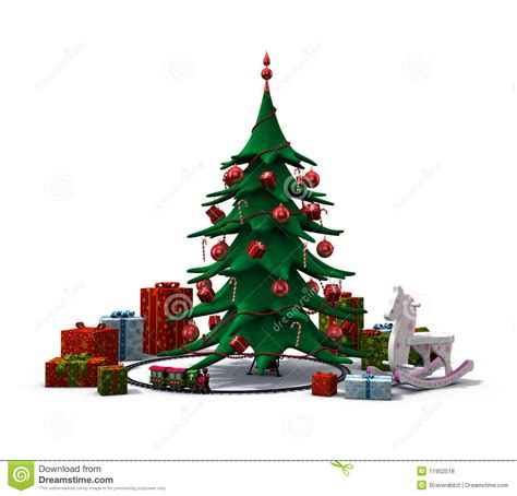 toy that goes around christmas tree tree with presents and toys royalty free stock photos image 11902518