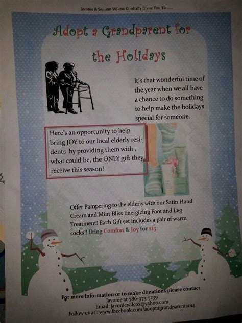Grandparent Fundraising Letter Donation Flyer Adopt A Grandparent For The Holidays 2014