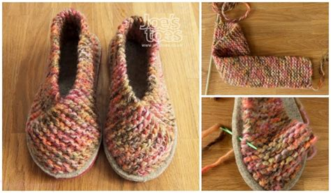 easy garter stitch knit crossover slippers  knitting