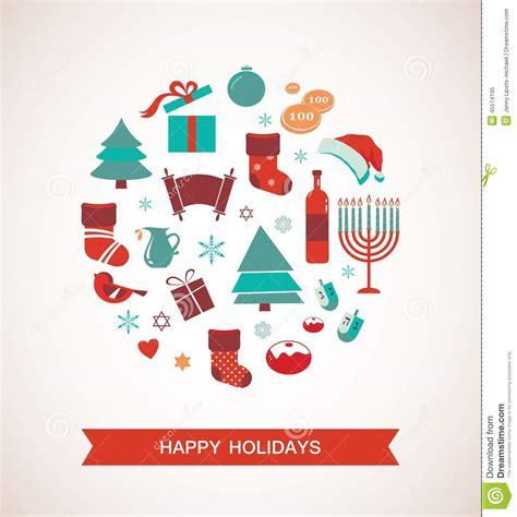 merry christmas  happy hanukkah seasonal objects stock illustration image