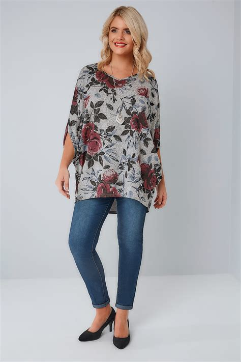 Print Sleeve Batwing Top grey floral print v neck longline top with batwing sleeves