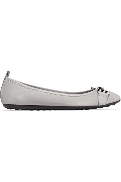 Flat Tods Suede 1 lyst tod s embellished suede ballet flats in gray
