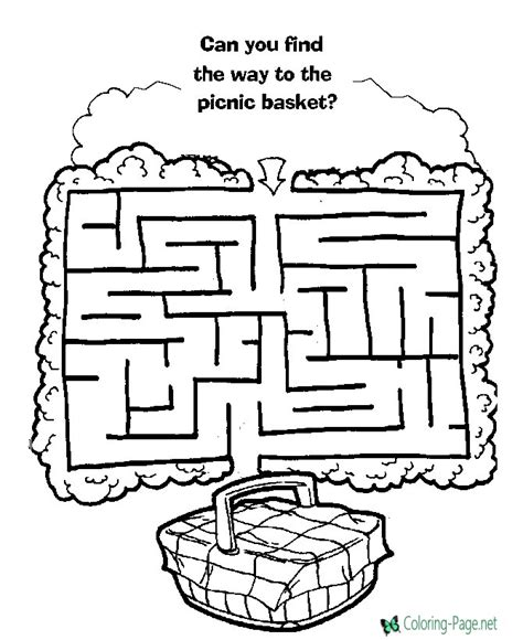 maze coloring pages printable coloring page for kids picnic basket maze printable mazes