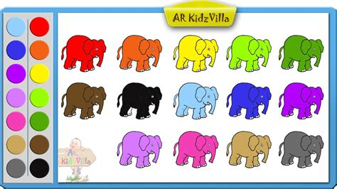 color kid learn colors for and color elephant coloring page