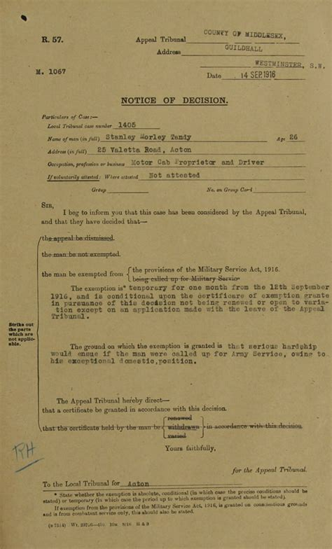 Free Records Uk Middlesex Service Appeal Tribunal 1916 1918 The