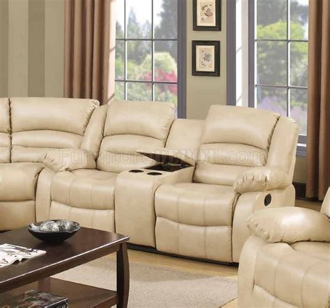 cream bonded leather sofa 9243 reclining sectional sofa in cream bonded leather w