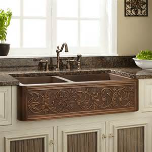 60 40 farmhouse sink 33 quot vine design 60 40 offset double bowl copper farmhouse