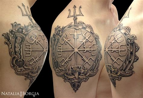 nordic tattoo compass vegvisir viking compass tattoo by nataliaborgia on deviantart