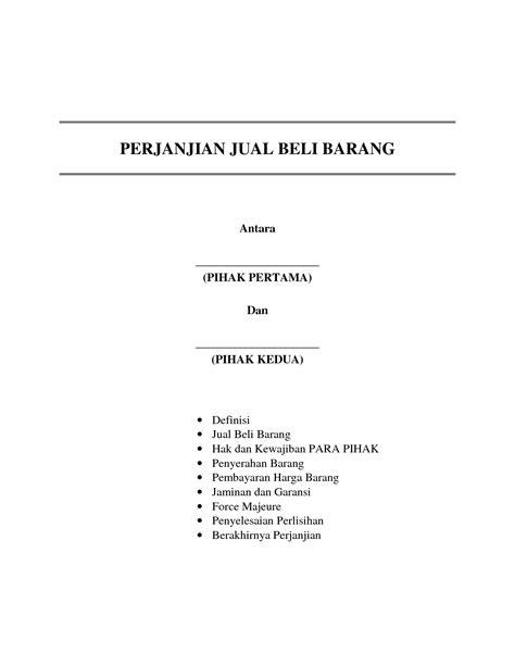 contoh surat perjanjian pengikat jual beli barang portalinvestasi