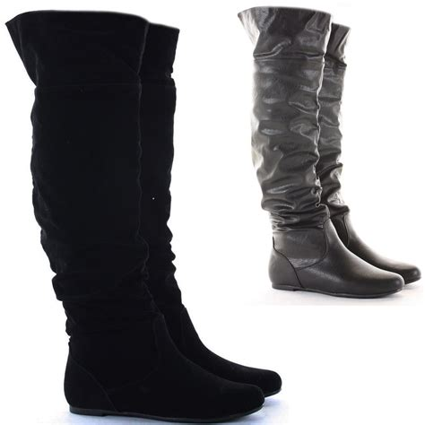 thigh high boots flat heel womens black flat heel the knee thigh high