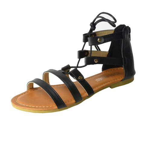 ankle tie flat sandals s lace up ankle tie back zip open toe strappy