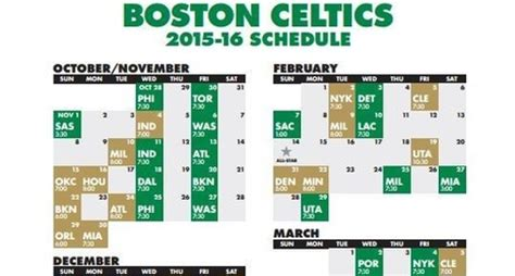 printable schedule for boston celtics nba schedule released celtics open vs 76ers on october 28