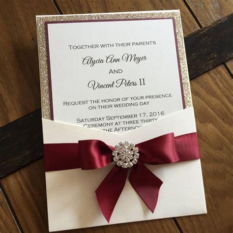 Wedding Invitations Burgundy by Burgundy And Gold Leaf Glitter Pocket Wedding Invitation
