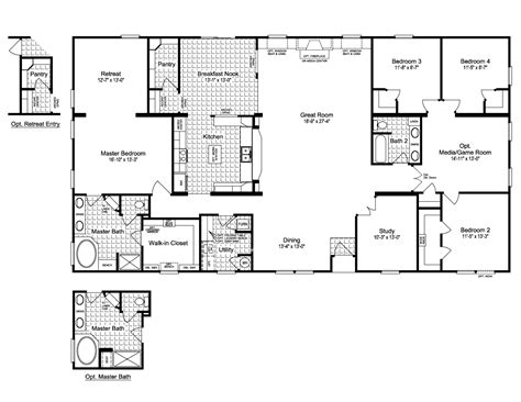 Mobile Home Designs Floor Plans by The Evolution Vr41764c Manufactured Home Floor Plan Or