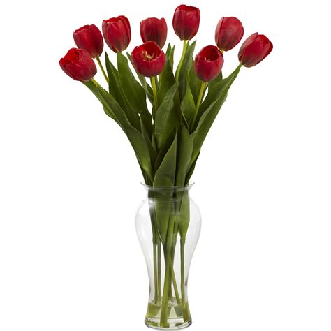 Artificial Tulips In Glass Vase by 24 Inch Indoor Silk Tulips In Decorative Glass Vase