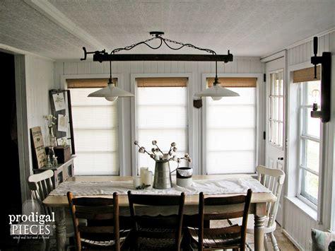 farmhouse dining room lighting table set decor wall rug