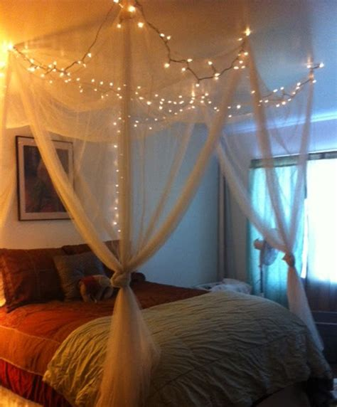 bed canopy with fairy lights how to hang christmas lights in bedroom by homearena