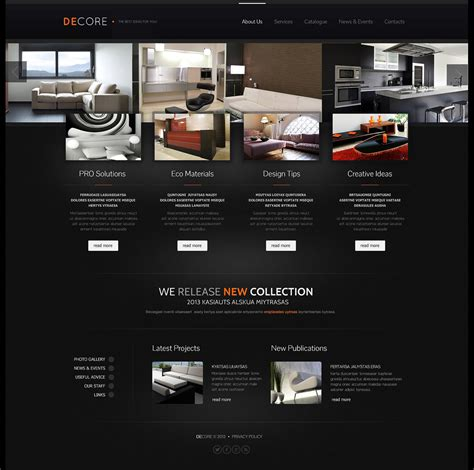 interior design responsive website template 44407