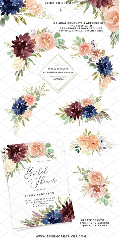 burgundy navy gold watercolor floral gold watercolor