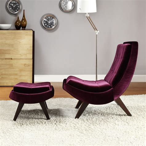 velvet chair and ottoman oxford creek contemporary purple velvet chair ottoman