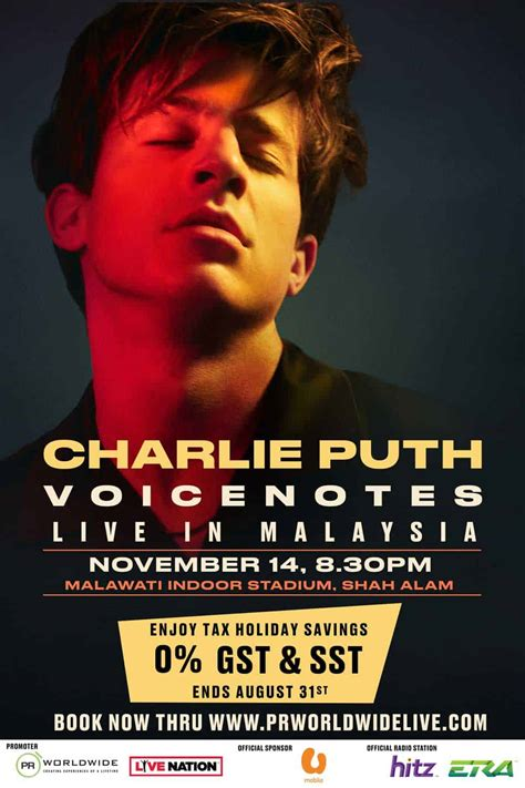 charlie puth concert asia charlie puth voicenotes tour live in malaysia pr