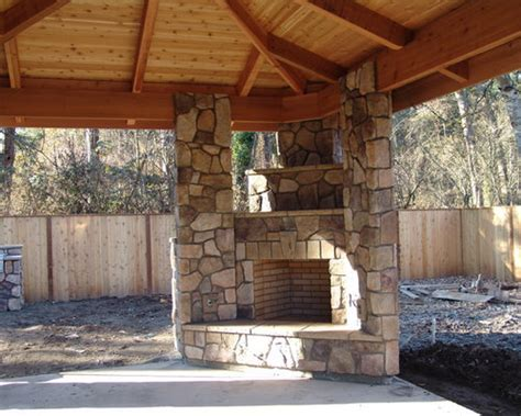 corner outdoor fireplace ideas pictures remodel  decor
