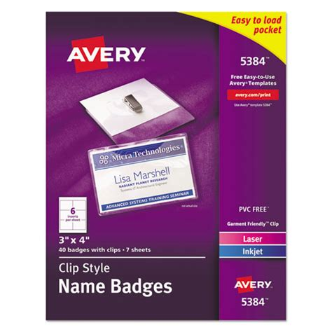 Clip Style Name Badge Holders W Inserts Top Load 3 X 4 White 40 Box Thegreenoffice Com Avery Badge Template