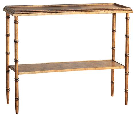 bamboo accent tables doheny hollywood regency style gold faux bamboo console