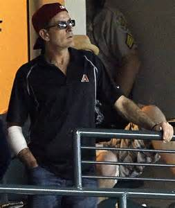 Baseball Mad Charlie Sheen Forced To Watch From The Stands Sheen Right Arm