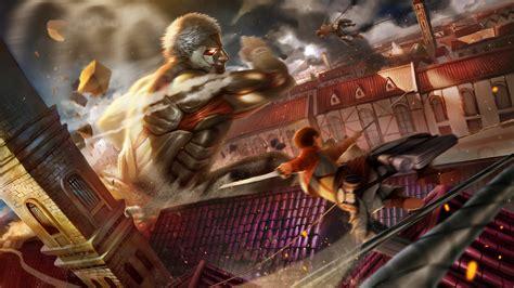 wallpaper  armored titan attack  titan city