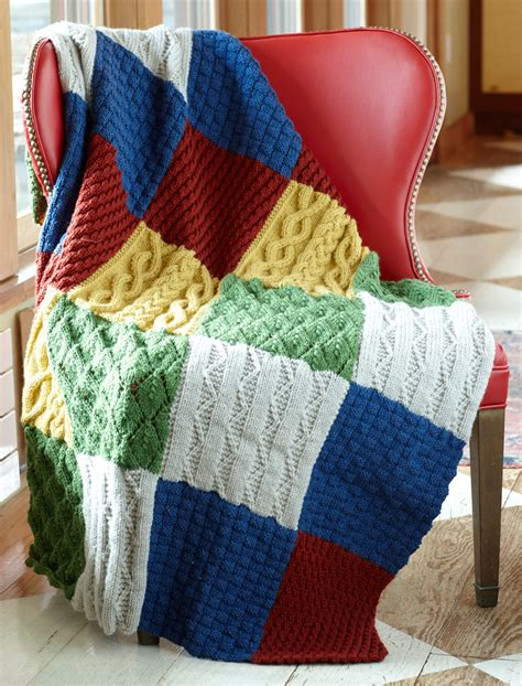 Free Knitted Blankets And Throws Patterns by Patch Sler Throw Allfreeknitting