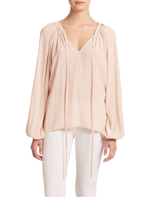 V Neck Blouse Black Size Sml ramy brook v neck tie front blouse in pink lyst