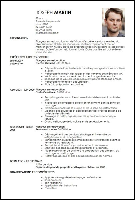 Exemple Cv Suisse by Exemple Cv Plongeur En Restauration Livecareer Commis De