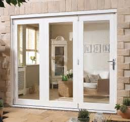 wooden timber white external trifold patio doors