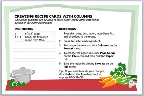 Microsoft Word Recipe Card Template by Recipe Card Template Recipe Card Template For Word