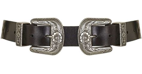topshop wide buckle western belt in black lyst