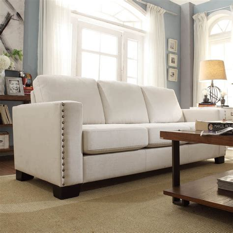 linen couch and loveseat inspire q torrington white linen nailhead track arm sofa