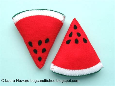 felt watermelon pattern bugs and fishes by lupin sew some felt fruit watermelon