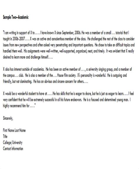 Letter Of Recommendation Performance 8 sle academic recommendation letter free sle