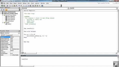 tutorial visual basic for excel visual basic for excel tutorial the for loop