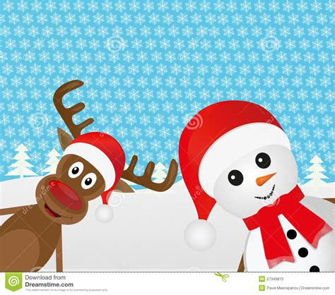 christmas reindeer and a snowman stock photos image