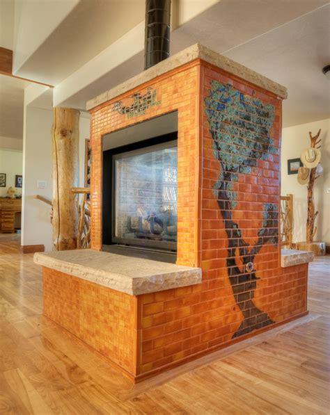 colorado four sided fireplace contemporary living room