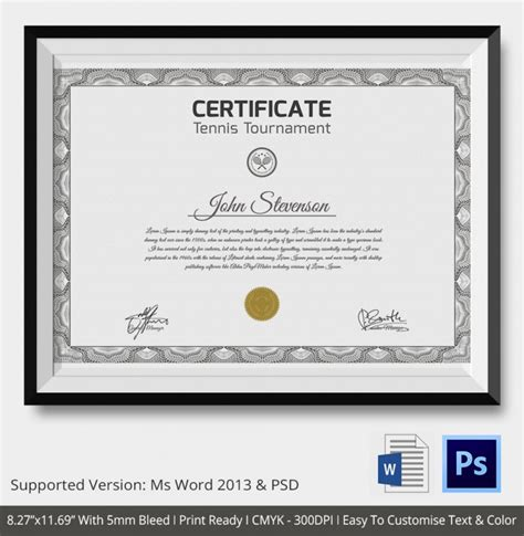tennis gift certificate template 5 tennis certificates psd word designs design trends