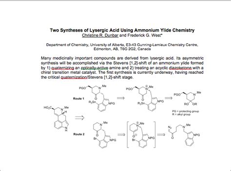 chemistry research paper sle banff symposium on organic chemistry