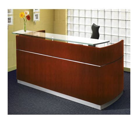 Wooden Reception Desk Mayline Wood Veneer Napoli Cherry Reception Desk W Frosted Glass Counter Contemporary