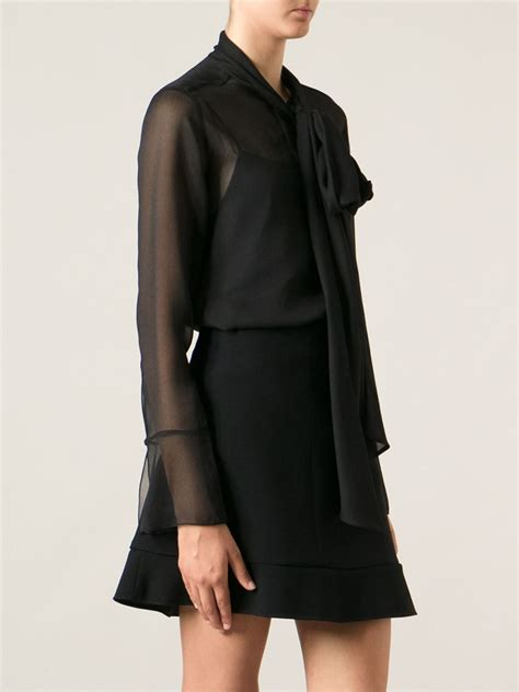 chlo 233 sheer bow blouse in black lyst