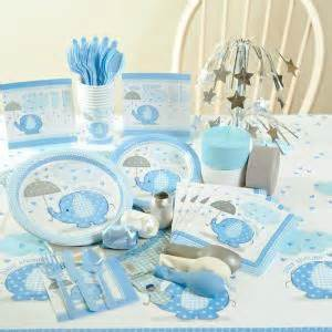 Baby shower deluxe party pack umbrellaphants blue baby shower deluxe