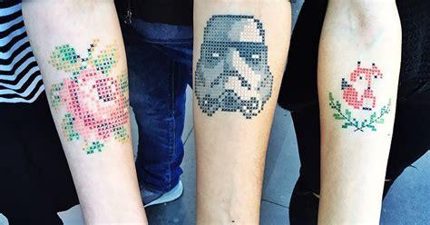 cross stitch tattoo awesome cross stitch tattoos by turkish ink artist krbdk